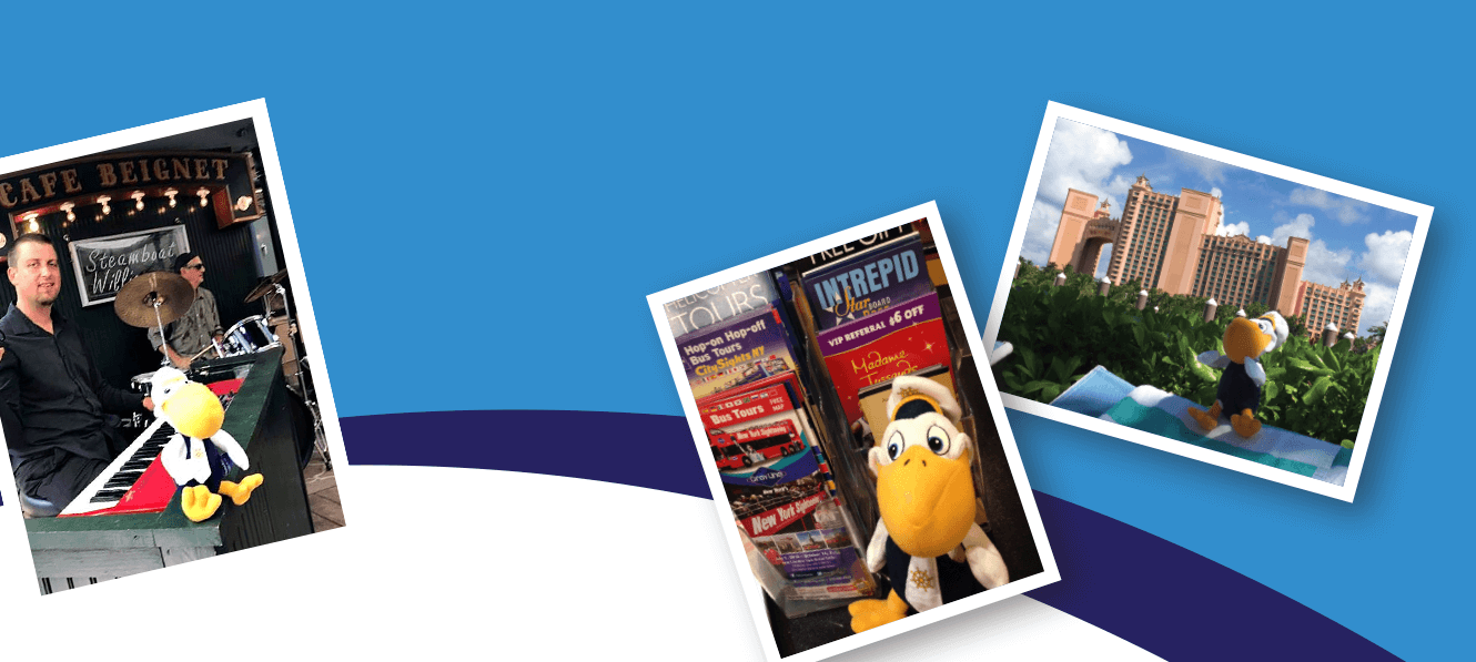Photo of Marine Bank & Trust Mascot Mariner Pete in a variety of places.