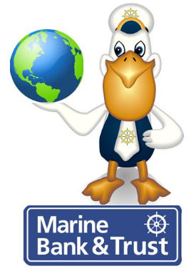 Marine Bank & Trust Mascot Mariner Pete standing on top of the Marine Bank logo