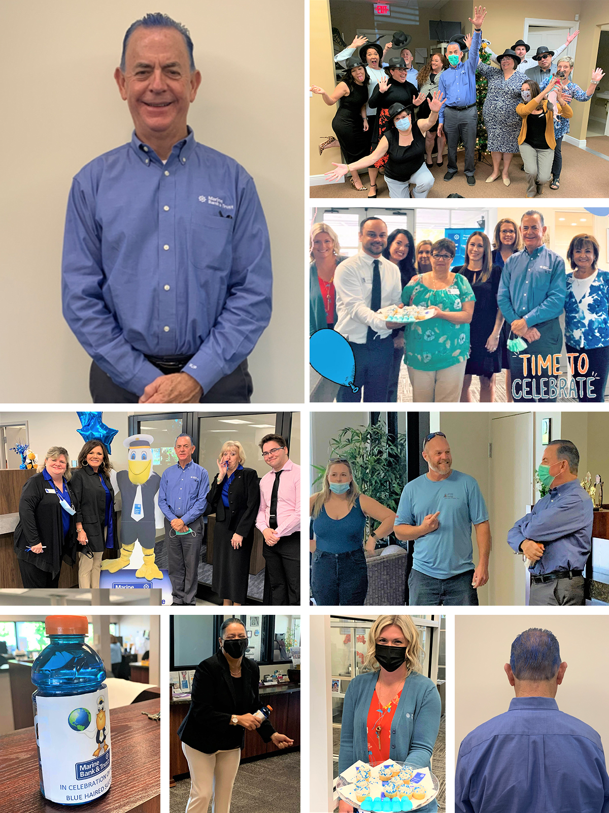 Collage of Bill Penney with blue hair with team members.